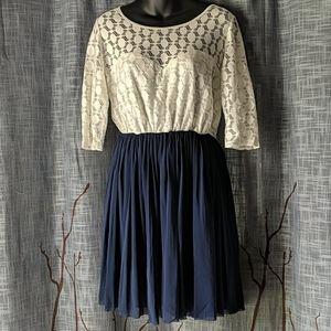 ASOS Blue Skirt White Lace Dress